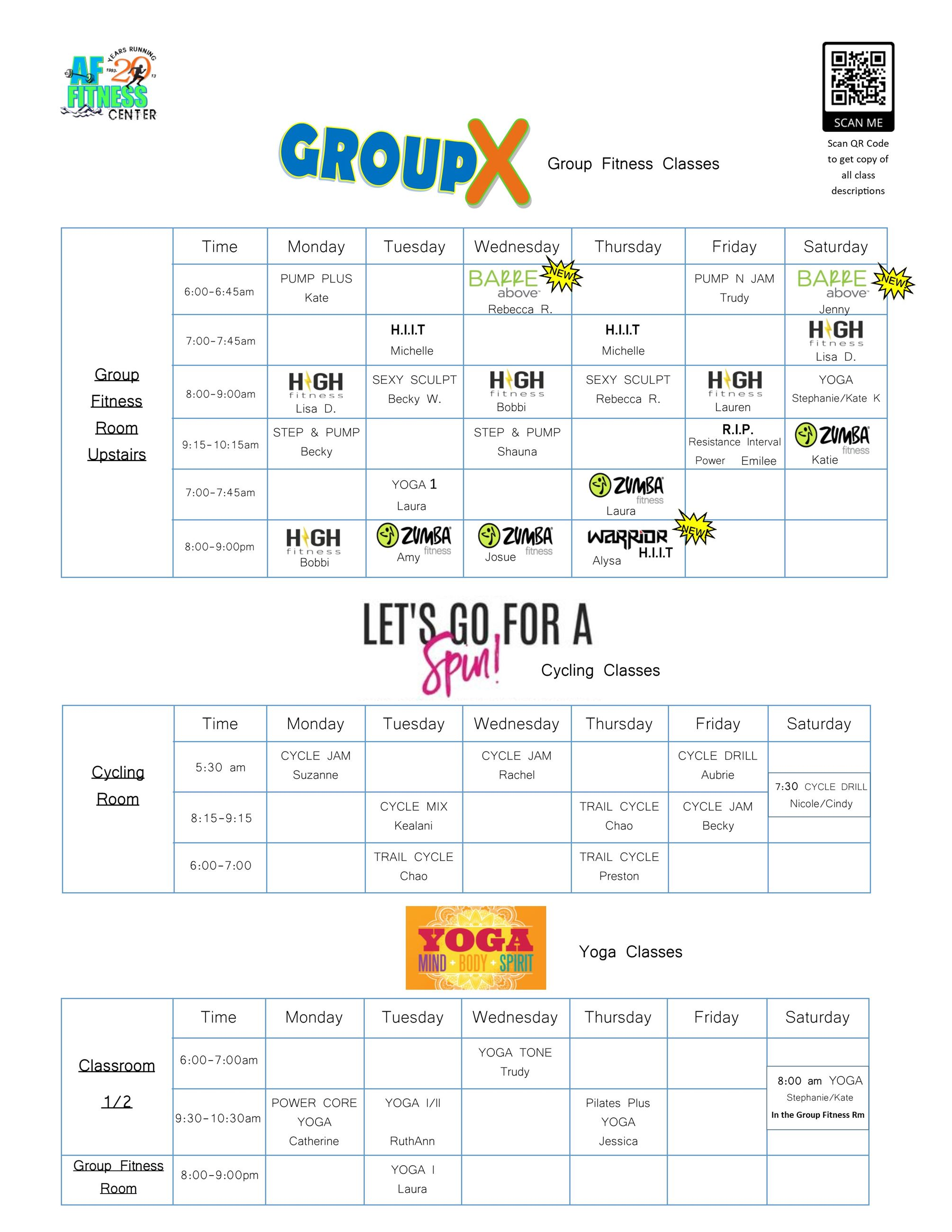 Group Fitness Schedules Summer COVID 1