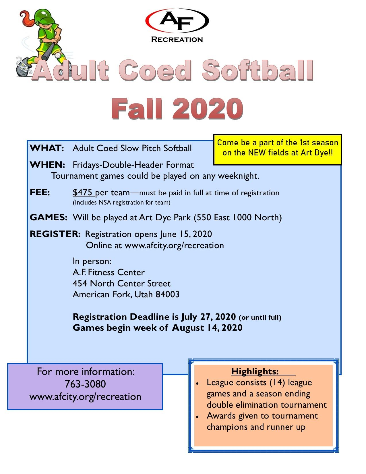Coed Softball Friday Fall Flyer 2020