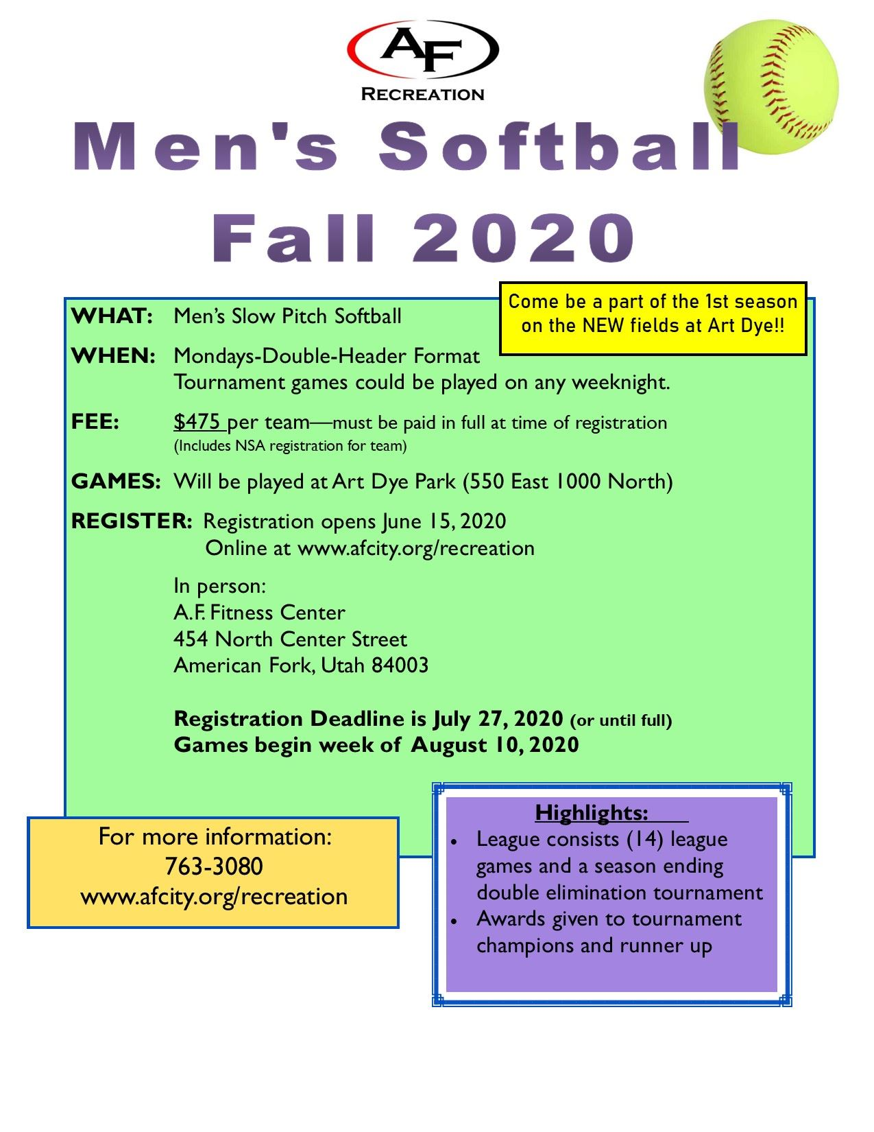 Mens Softball Monday Fall Flyer 2020