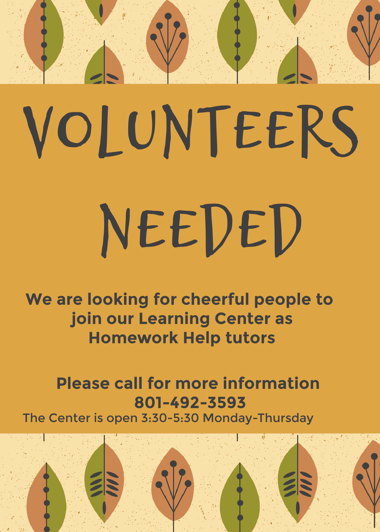 Volunteers needed Oct 2020