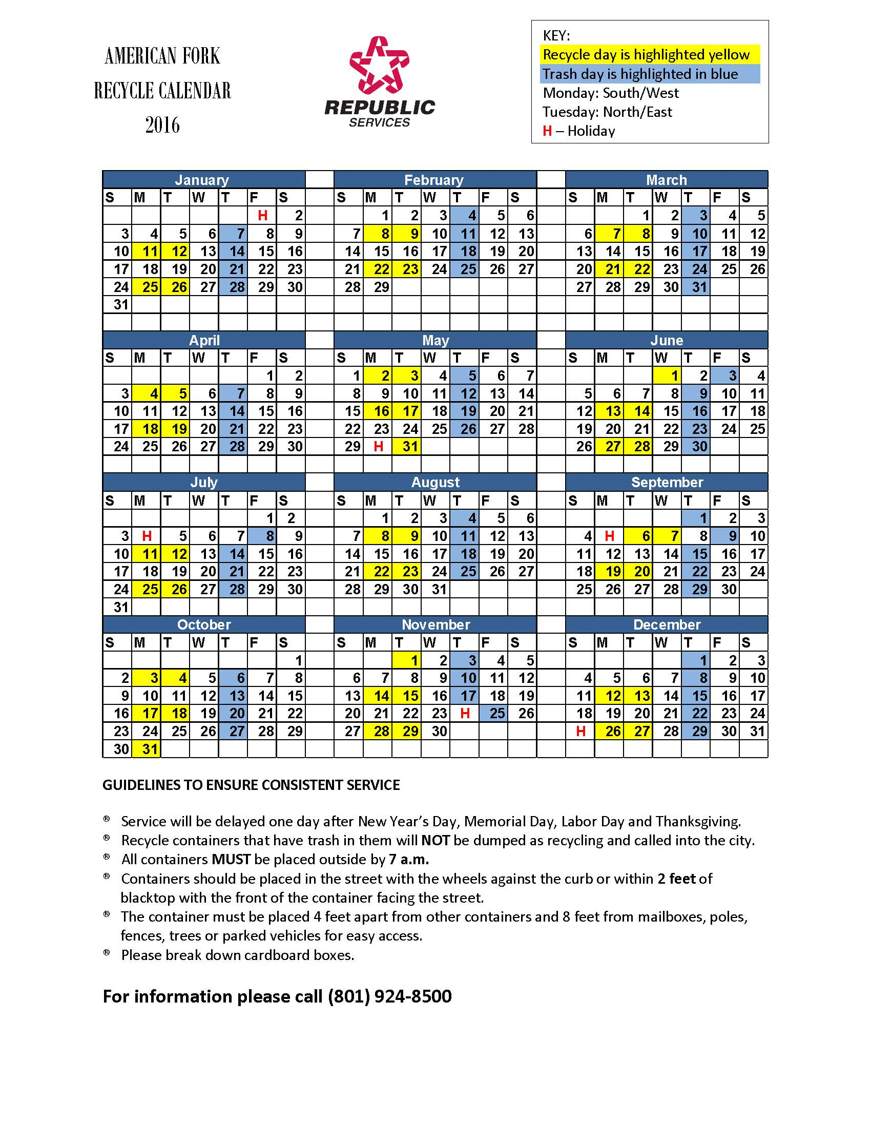 American Fork Garbage and Recycling Calendar 2016