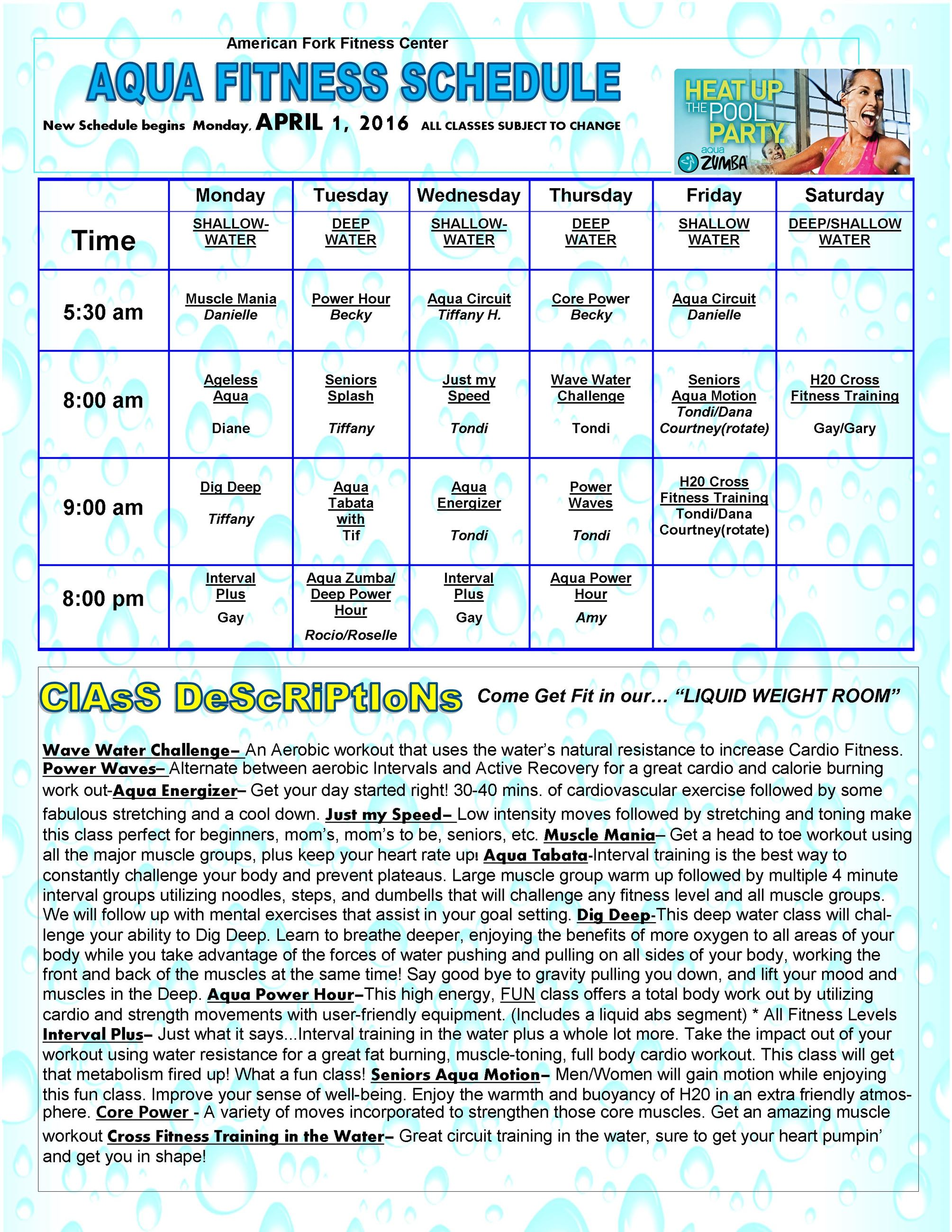 APRIL H20 FITNESS SCHEDULE