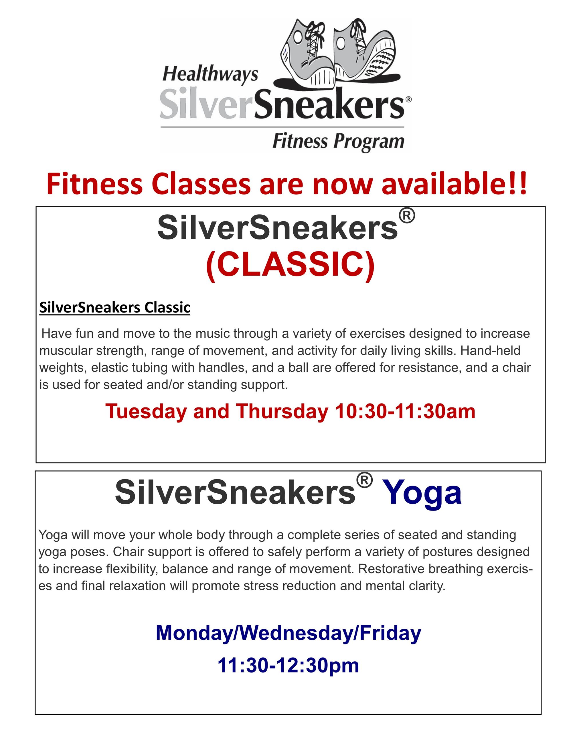 Senior Class 1 and Silver Sneakers  schedule Dec 2016 descriptions