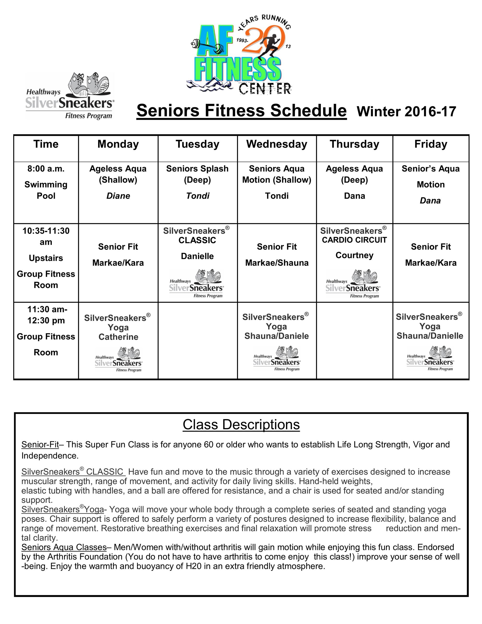 senior class schedules 2 Dec 2016