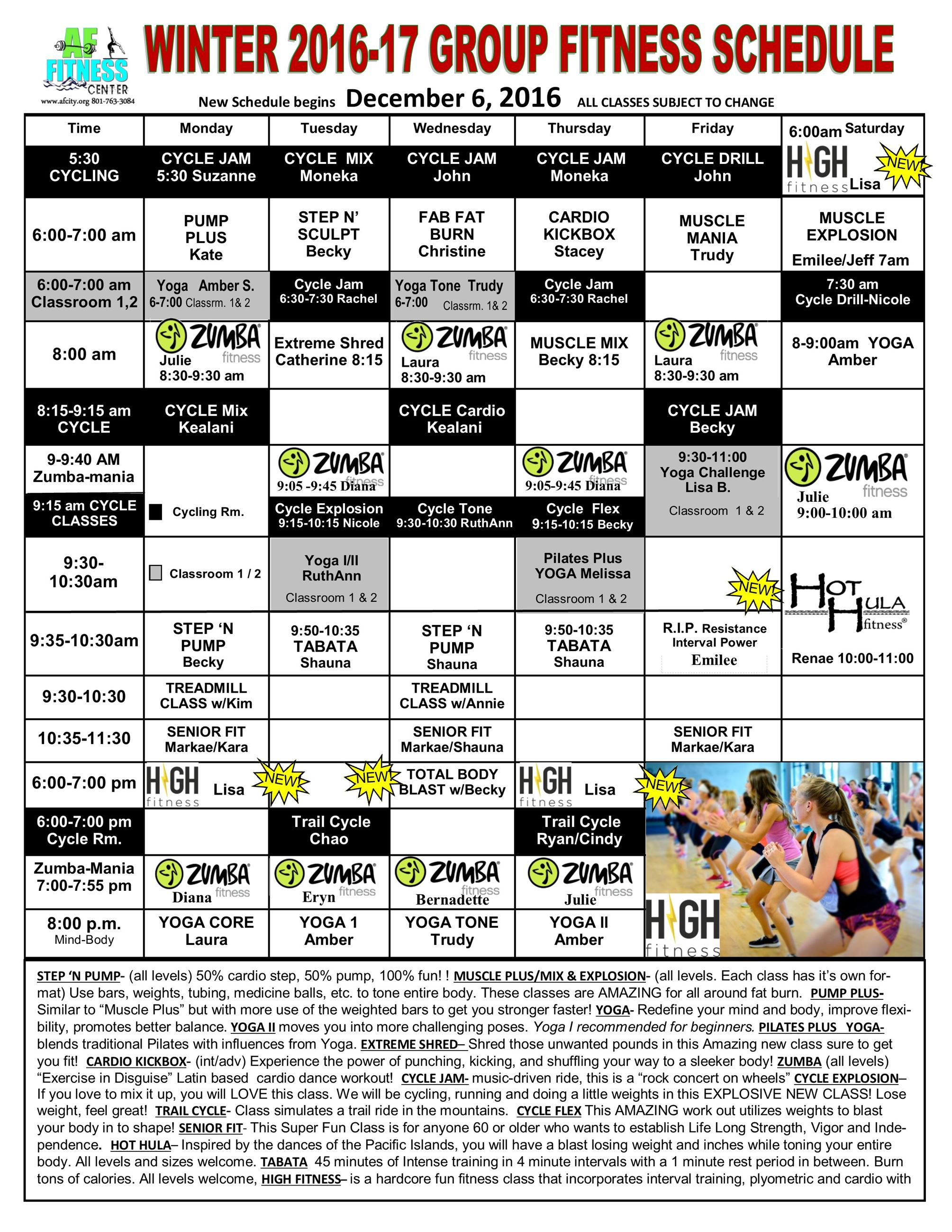 December GROUP FITNESS CLASSES2