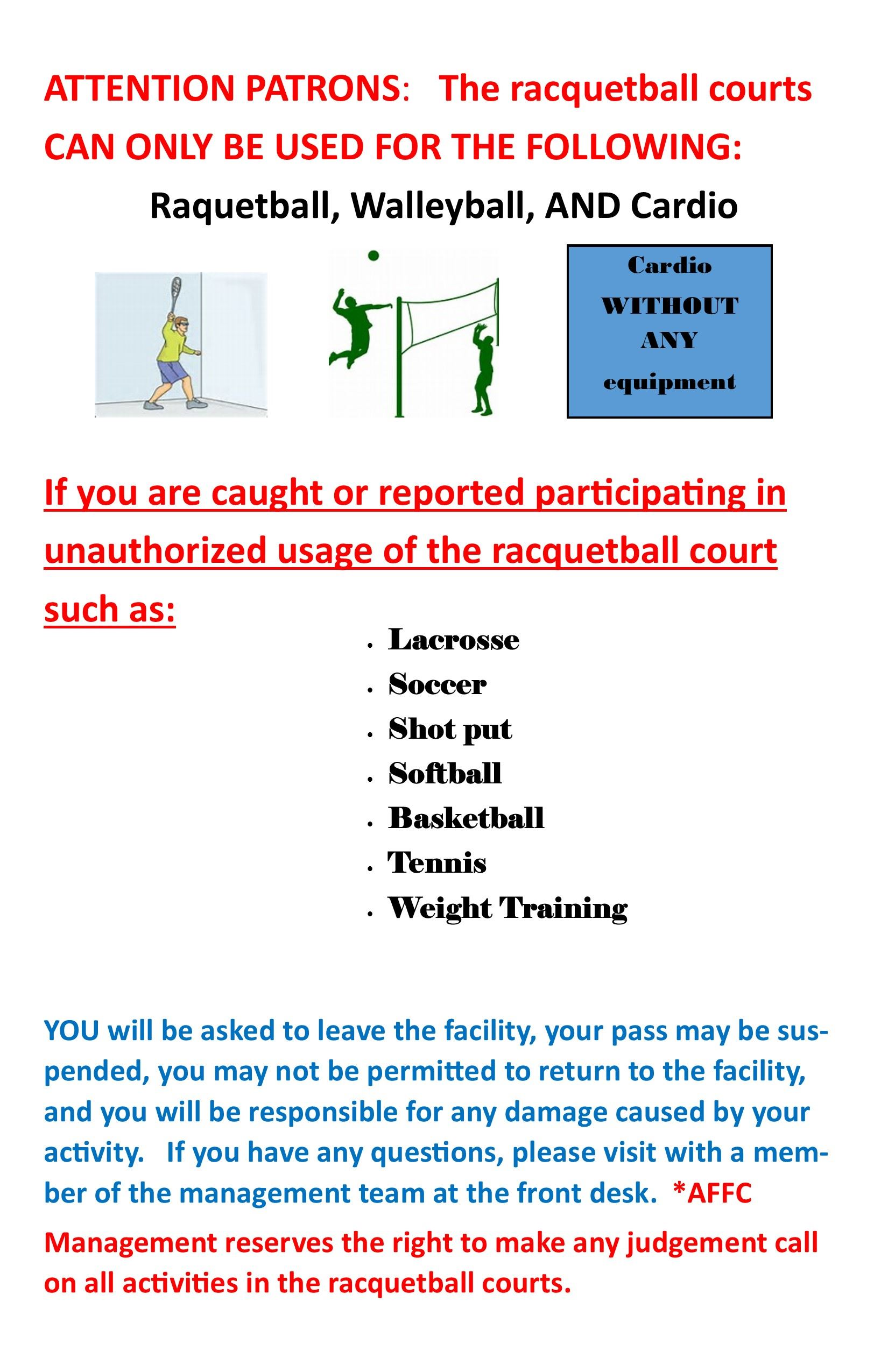 Raquetball Court Usage Flyer