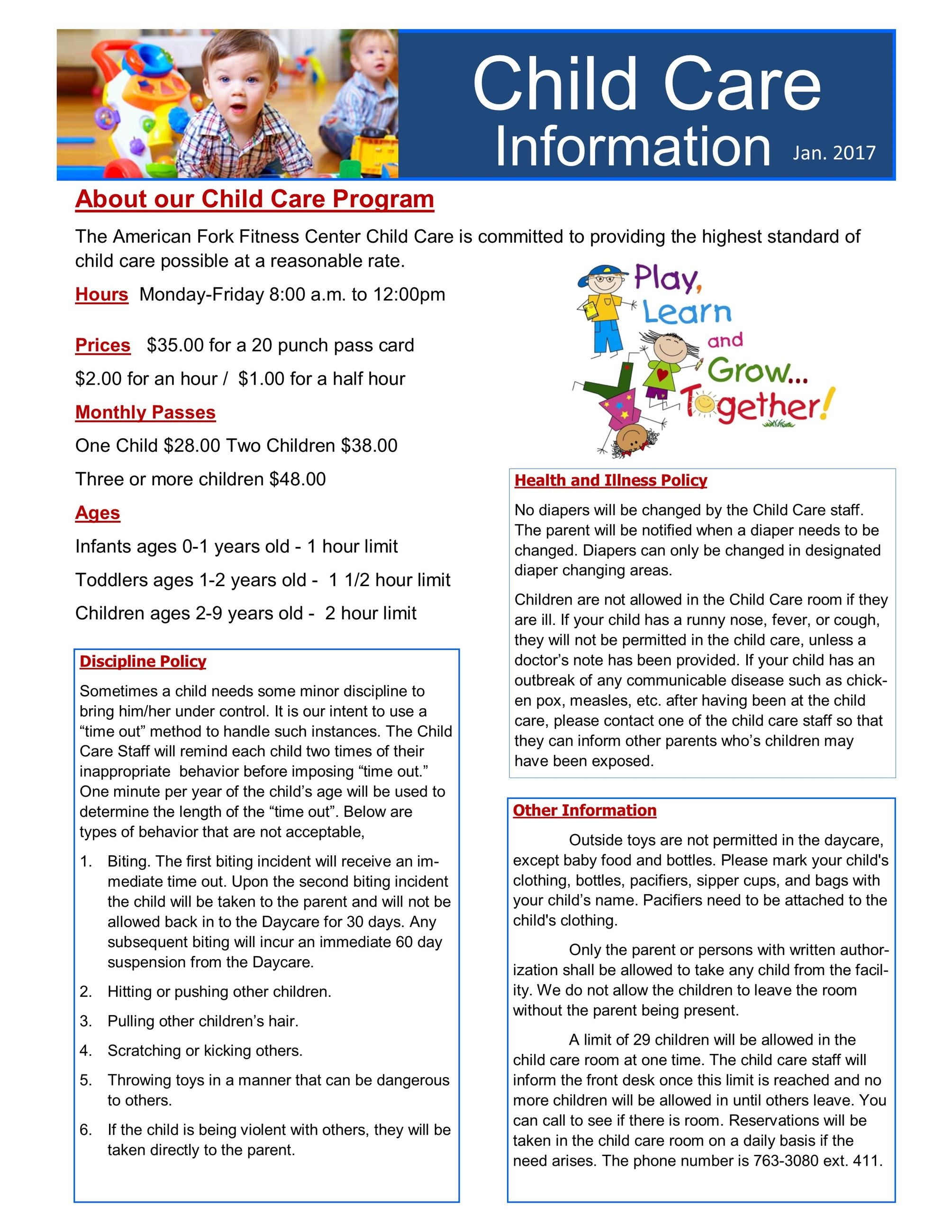 child care flyer May 2017
