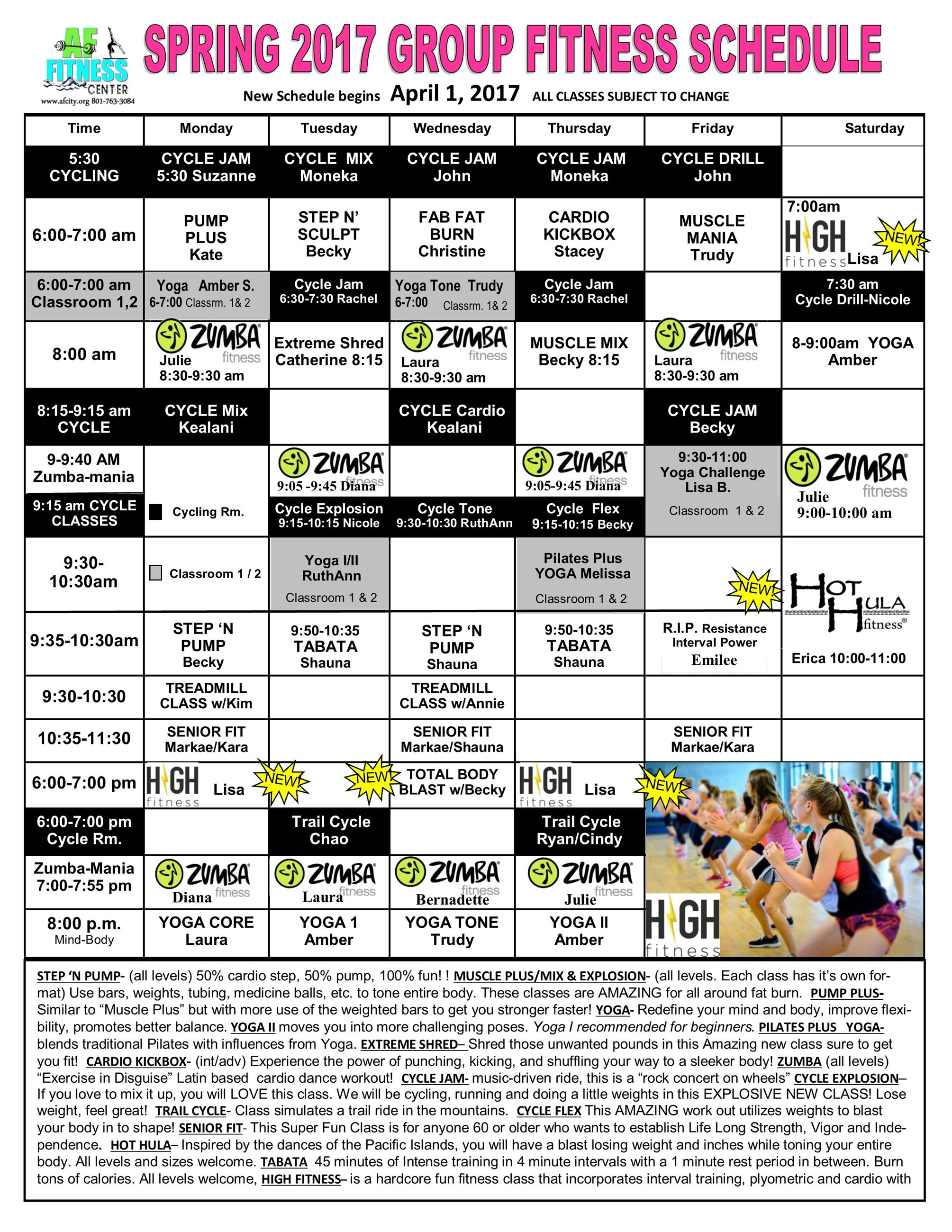 Group Fitness Land April 2017