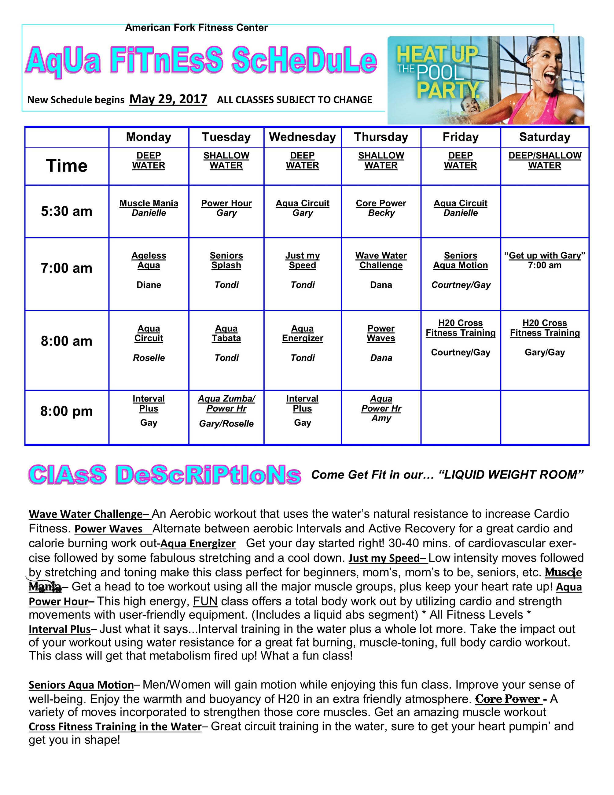 sUMMER gROUP fITNESS sCHEDULE 2017