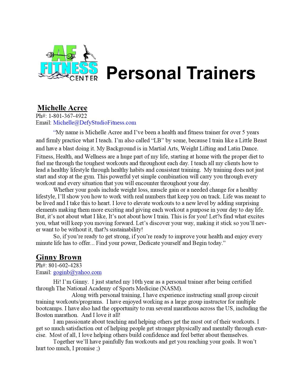 Personal Trainers Biography 1