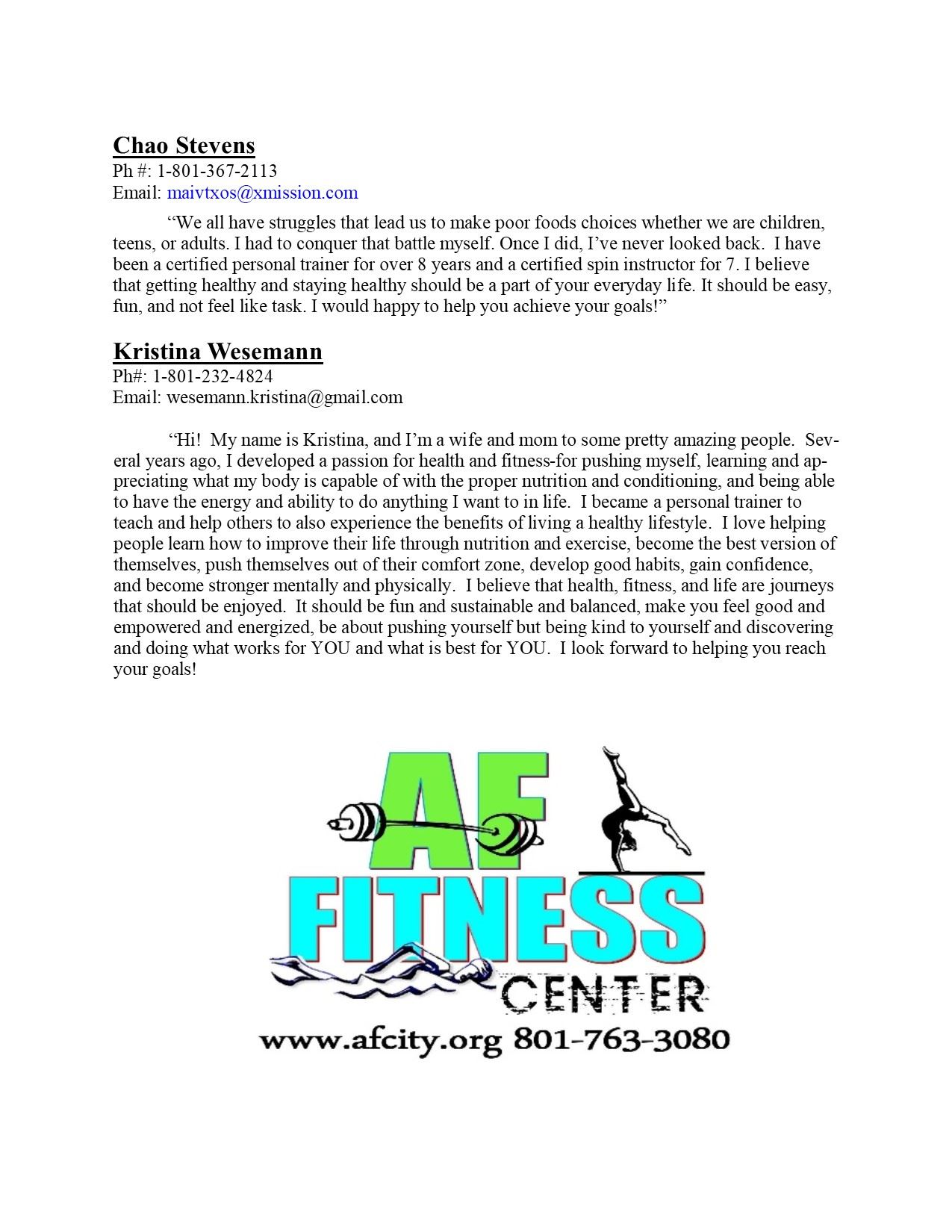 Personal Trainers Biography 3